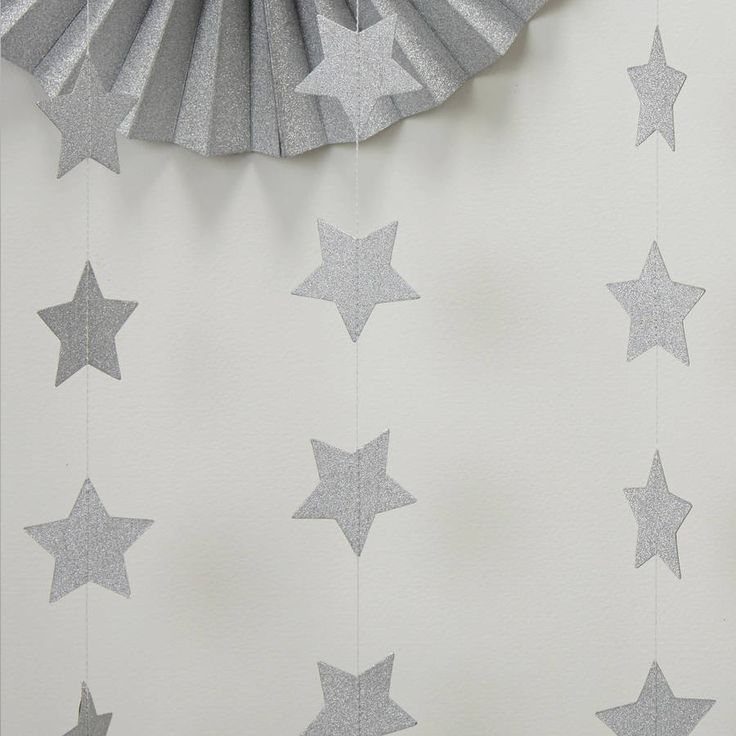 This stylish, Silver Glitter Star Garland a great way to add a touch of sparkle and glamour to any occasion.This garland is 5m in length and is ideal for a birthday party, baby shower, new years eve party, anniversary event or any special occasion! Could also be used as a backdrop to a sweet and candy buffet or as a backdrop to a dessert table for a wedding, just fabulous. Other products in the range include fan decorations, bunting and invites for weddings.Paper5m in length.
