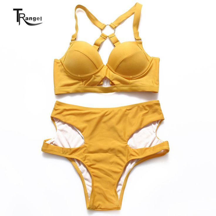 High Waist Swimsuit Women Sexy Bikini Set Cut Out Swimwear Beachwear Push Up Bikini Bathing Suit