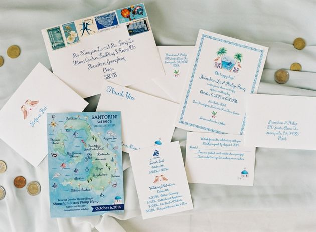 Wedding Stationary for our Fall Wedding in Santorini by Stella & Moscha - Photo by Jen Huang