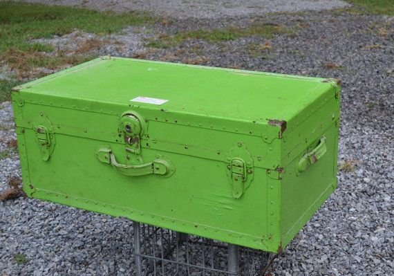 Vintage Metal and Fiber Trunk Lime Green Coffee by PanchosPorch #pcfteam