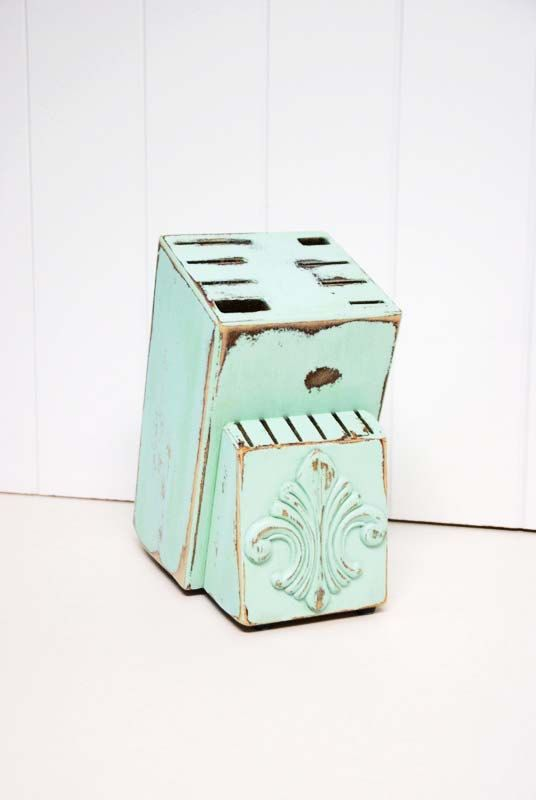 Shabby Chic Knife Block in Light Aqua by by speckleddog on Etsy, $20.00