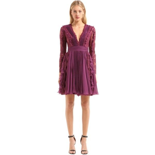 Zuhair Murad Women Plisse Chiffon & Chantilly Lace Dress ($3,715) ❤ liked on Polyvore featuring dresses, purple, long-sleeve maxi dress, purple lace dresses, long sleeve lace cocktail dress, long sleeve dress and lace dress