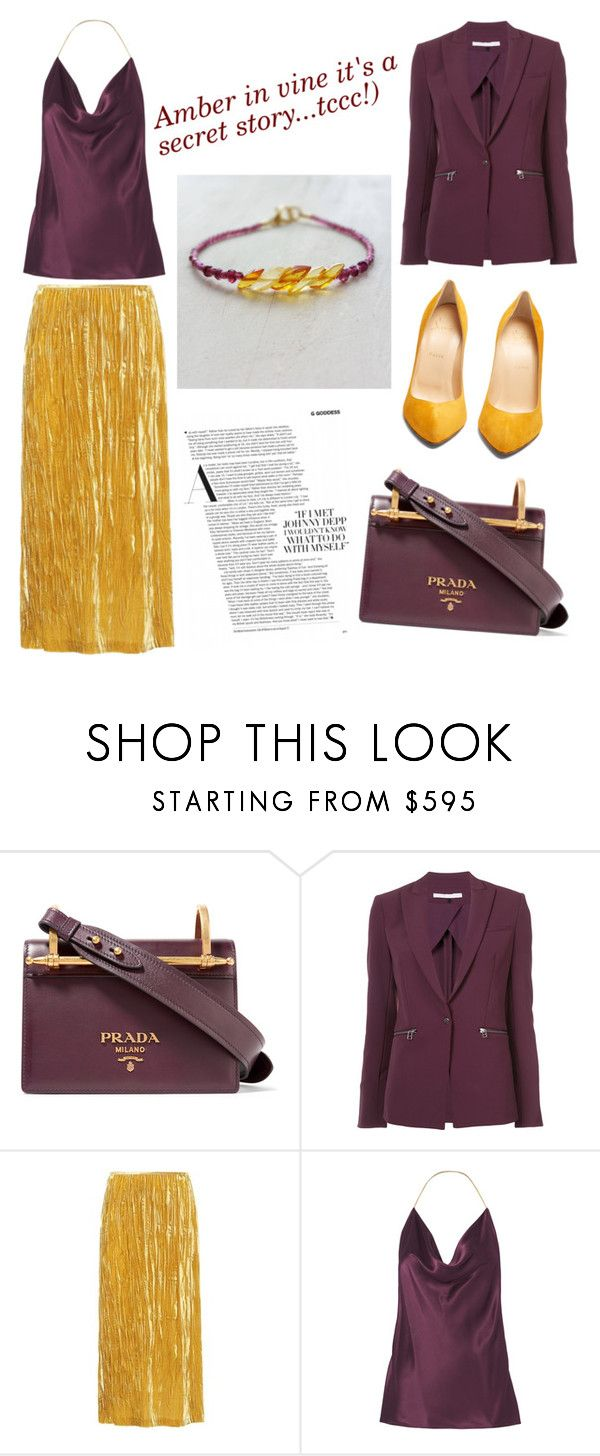 Bordo Burgundy Gold Velvet Womens Look Outfit Idea Autumn 2017 Amber Bracelet Cushnie Et Ochs, Veronica Beard, Miu Miu, Christian Louboutin and Prada