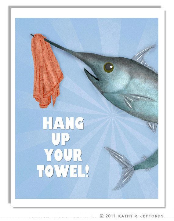 Fish bathroom decor whimsical fish art swordfish pictures for Bathroom fish decor