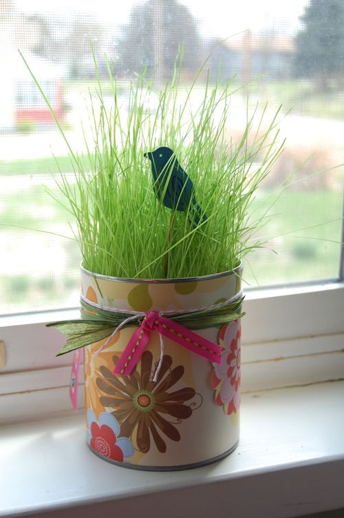 Spring inside a can...use and old fruit can, decorate it, add some grass seed! Super Easy!