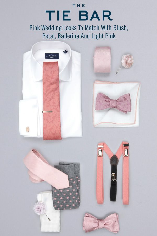 The perfect Shirts, Ties and Accessories to match with a Blush, Petal, Ballerina and Light Pink Wedding. Starting at $8 at www.TheTieBar.com