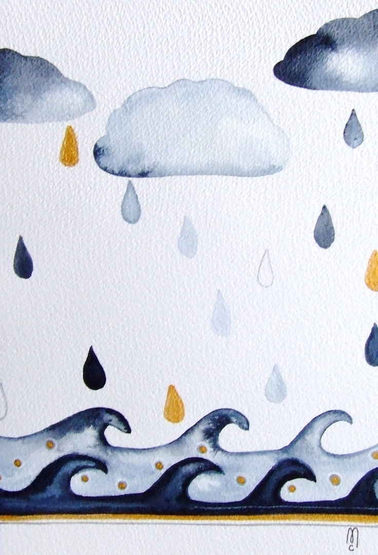 Landscape Clouds Rain Water Ocean Drops Sky Original Drawing Watercolor Painting Ink Contemporary Art Grey White Blue Gold. €42.00, via Etsy.