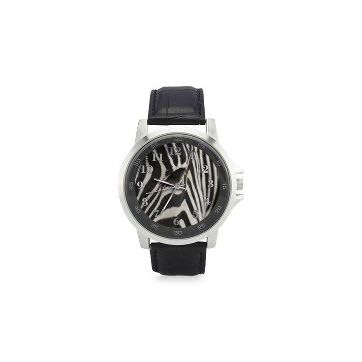 Zebra Unisex Stainless Steel Leather Strap Watch. FREE Shipping. #artsadd #watches #zebra
