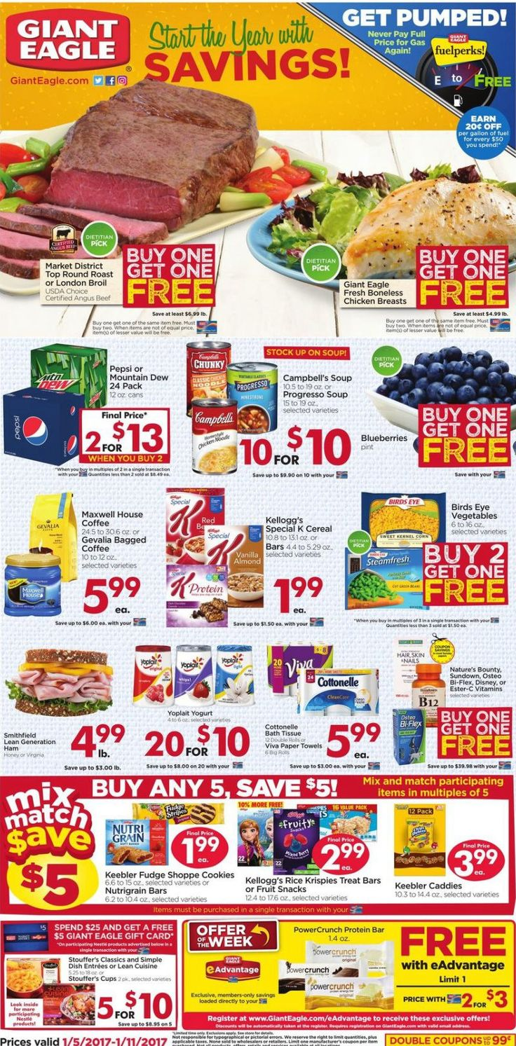 Giant Eagle Weekly Ad January 5 - 11, 2017