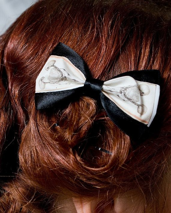 Conjoined Twins Skeleton Hair Bows by fluffergirl on Etsy, $25.00