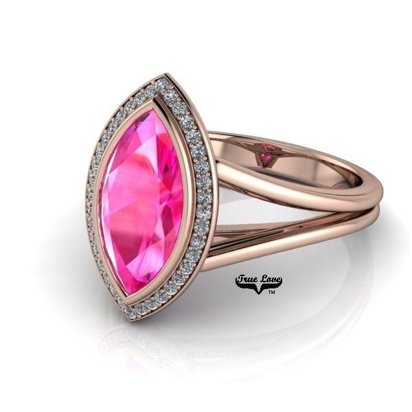 Pink Sapphire Marquise Shape 2.40 Carat 12x6 mm Engagement Ring 14 kt Rose gold  #8278 by Colors4youByNormand on Etsy