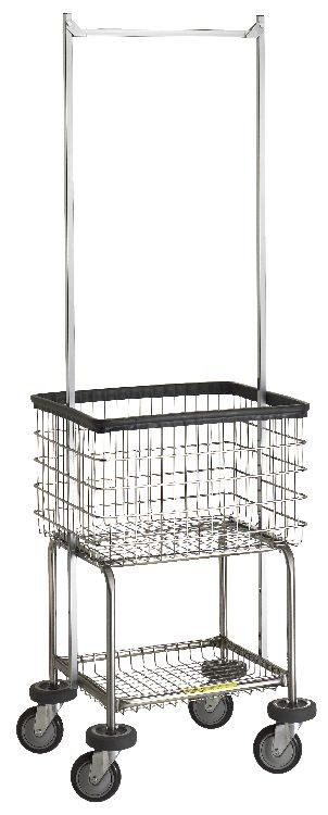 Wire Laundry Carts | Laundry Hampers | Deluxe Elevated Laundry Cart with Double Pole Rack