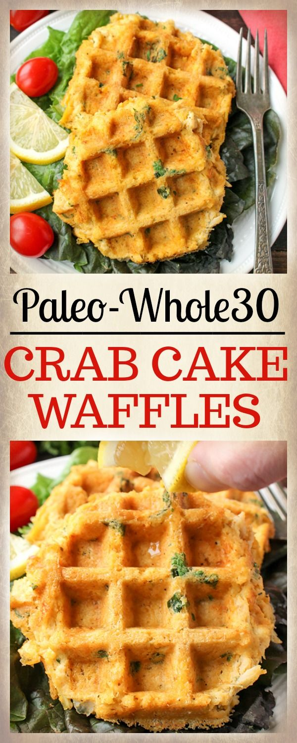 These Paleo Whole30 Crab Cake Waffles are quick and delicious! Perfectly crispy on the outside and tender on the inside every time. Gluten free, dairy free, and low fodmap.