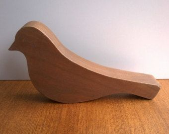 Vintage carved wooden bird large naive naïf primitive oak beech figurine ornament figure