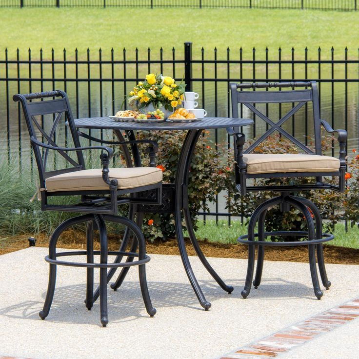 Lakeview Outdoor Designs Carrolton 2 Person Cast Aluminum Patio Bar Set  (Color),