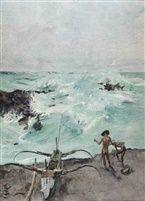 Roland Strasser (Austrian, 1895 - 1974) - Fishermen and prau along the Indonesian coast