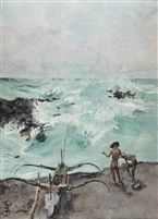 Roland Strasser (Austrian, 1895 - 1974) - Fishermen and prau along the Indonesian coast