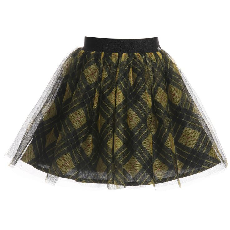Junior Gaultier girls beautiful, bright yellow tartan skirt made from soft tulle with a net petticoat, soft cotton lining and a comfortable sparkly elasticated waistband.Always a staple print for the season, this stylish skirt isperfect for everyday wear but can be dressed up for smart and special occasions.<br /> <ul> <li>Skirt: 100% polyester (soft tulle)</li> <li>Petticoat:100% polyamide (net)</li> <li>Lining: 100% cotton</li> <li>Stretchy, elasticated ...