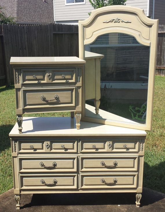 French Dresser With Mirror And Night Stand By Dixie Furniture Company