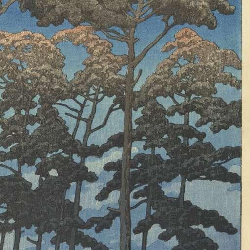 Hikawa park in Omiya, Kawase Hasui, Watanabe Shôzaburô, 1930 - Muurbehang-Verzameld werk van Florentine Six - Alle Rijksstudio's - Rijksstudio - Rijksmuseum
