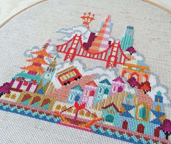 Pretty Little San Francisco Modern Cross stitch by SatsumaStreet