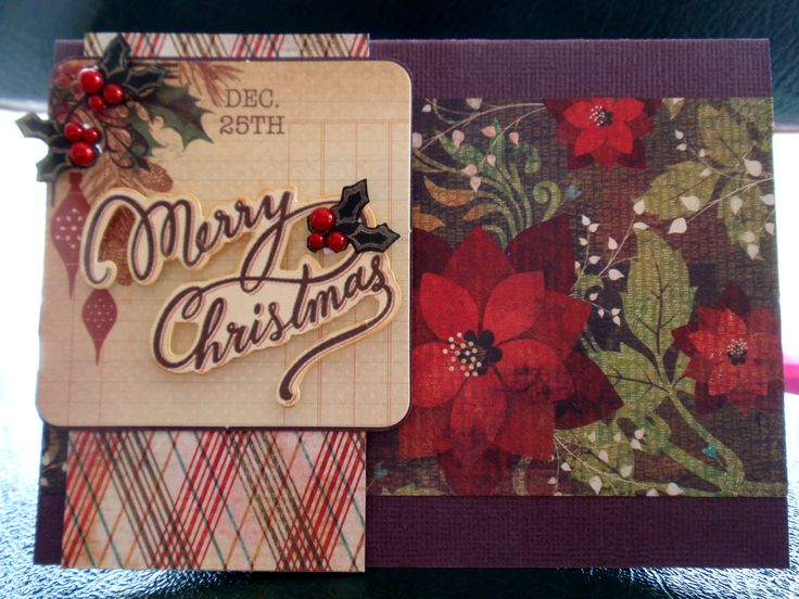 Merry Christmas with poinsettia pattern paper, stamped and cut out holly edged in gold pen and added red pearls to highlight the berries.