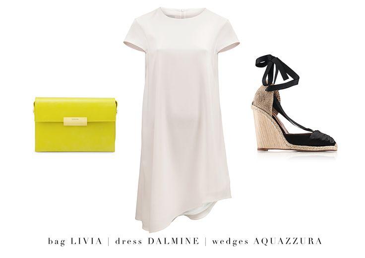 Collect your warm weather wardrobe: summer DALMINE dress, AQUAZZURA Malibu wedges and this season's must-have bag – LIVIA. #LaMania #Aquazzura