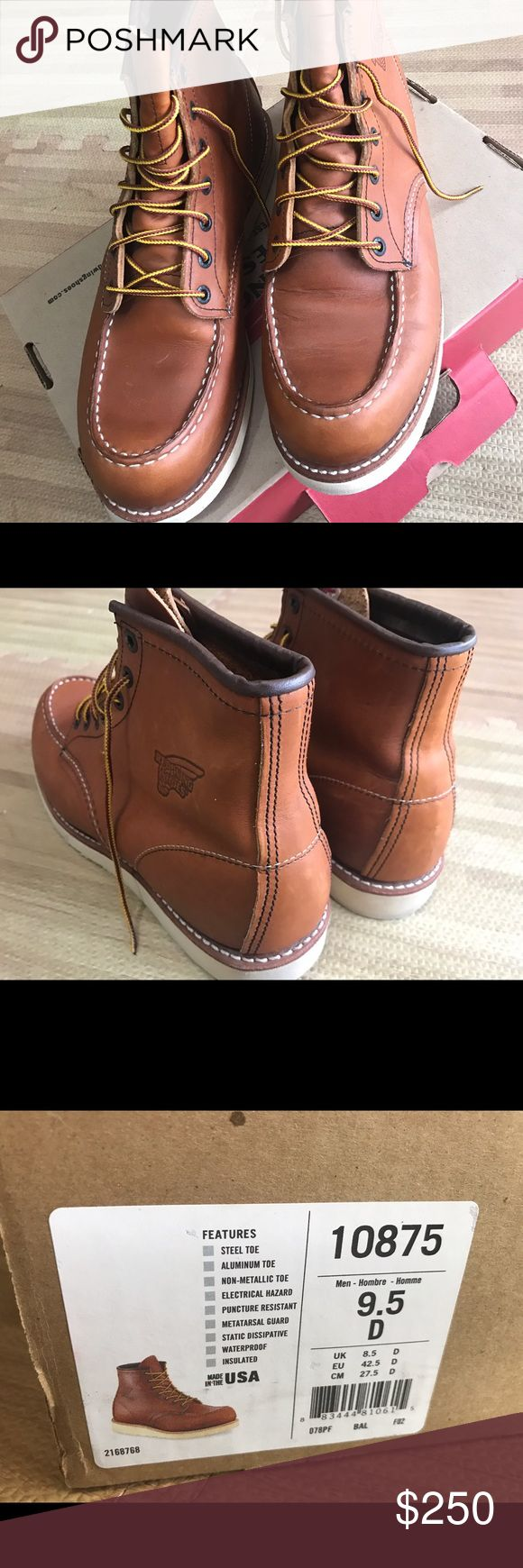 Red wing 10875 toe boots sz 9.5 D Red wing 10875 sz 9.5 D mens excellent condition come with original box authentic 100% I bought from red wing store worn once  barely used like new Feel free ask me any questions Thank you. Red Wing Shoes Shoes Boots