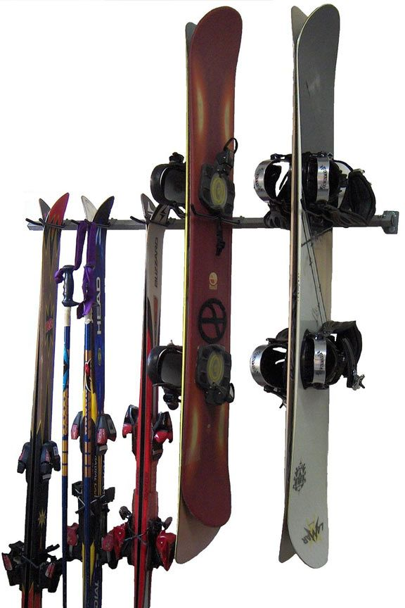 Ski And Snowboard Storage Rack : A Combination Storage Unit That Holds 3 Sets Of Skis And 4 Snowboards.