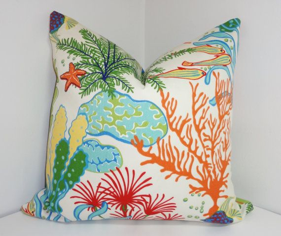 Two OUTDOOR Fun Ocean Fish & Coral pillow covers . Great for spiffing up the porch chairs & poolside. Made of waterproof fabric for outdoor patios & decks. My pillow covers are sized for 18 inserts. All seams are finished with zipper closure. ***Pattern placement will vary due to pattern repeat.*** Outdoor Pillow forms not included, but have them for sale in another listing: https://www.etsy.com/listing/156623460/outdoor-pillow-inserts-to-go-with-your Tha...