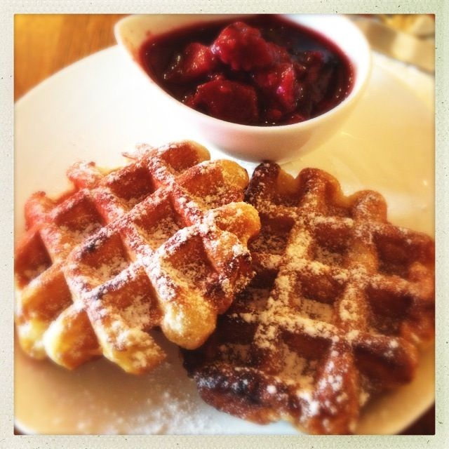 Waffles with berry compote at Hatched, Holland Village