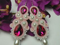 Crystal fuchsia pink earrings soutache hand-made                                                                                                                                                                                 More