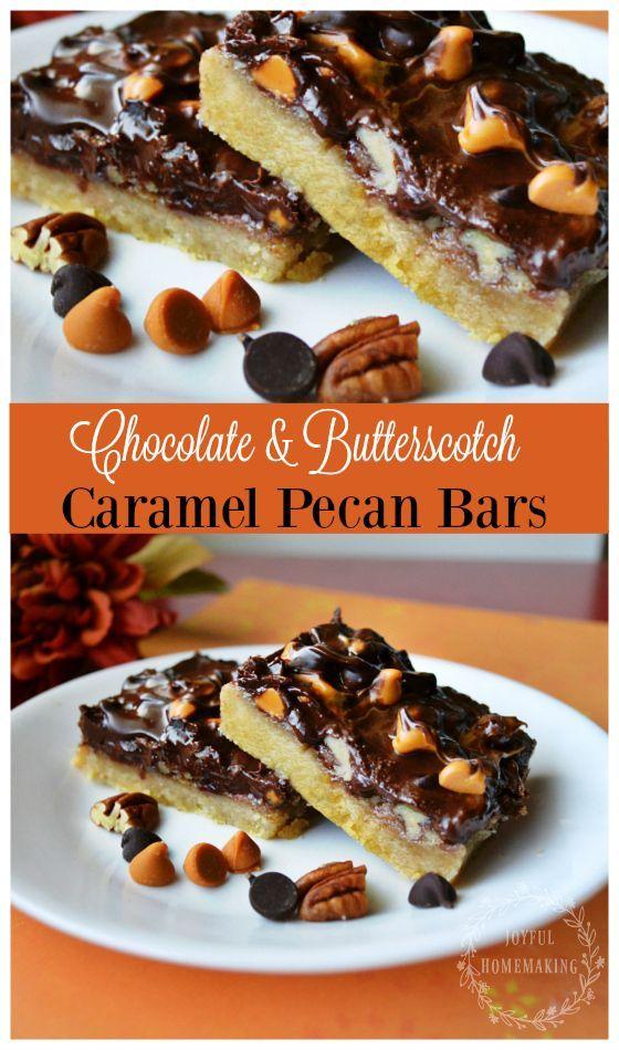 Chocolate Butterscotch Caramel Pecan Bars