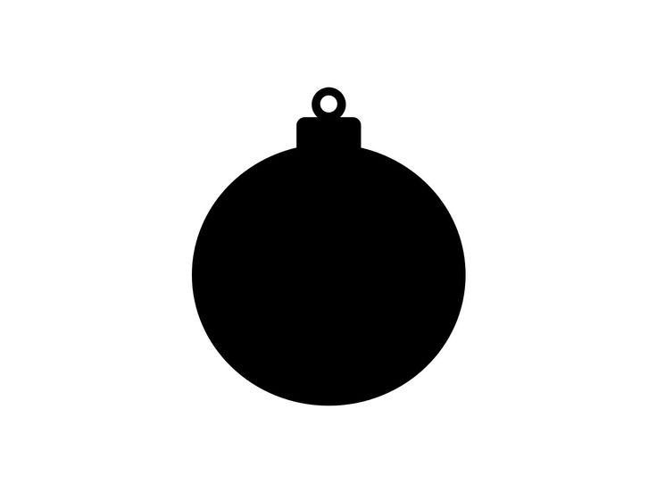 Holiday, Christmas Clip-Art: Black & White Basic Round Christmas Tree Ball Ornament - Make Any ...