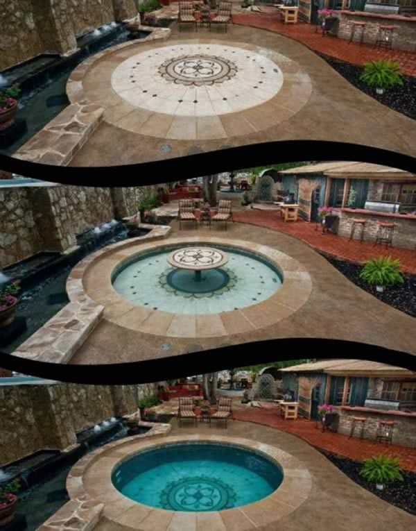 Want a swimming pool but don't have the space? There are a few ingenious solutions – solid floor submerses to reveal pool with push of a button. This beauty is from Invisipools (previously Hidden Water Pools).