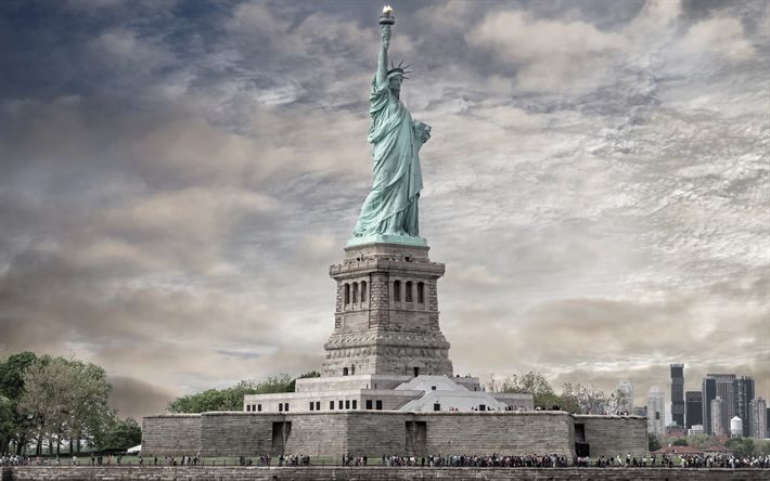 Download wallpapers Statue of Liberty, monument, Liberty Enlightening the World, New York, american landmarks, USA, America, Manhattan, NYC