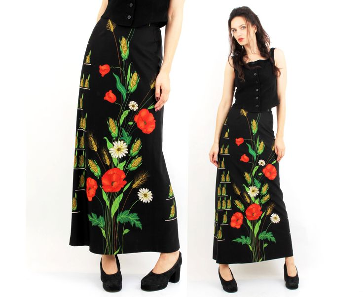 Vintage Black Floral Poppy Camilla Long Boho Skirt Size S Made in Italy by…