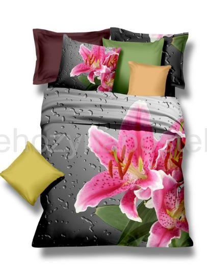 Kvalitné posteľné obliečky z mikrovlákna s rúžovou ľaliou