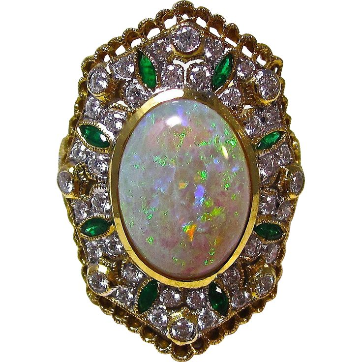 Vintage Estate Opal, Emerald, Diamond Dinner Ring 21K