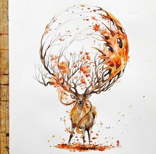 Deer painting by LuqmanReza http://webneel.com/watercolor-paintings | Design Inspiration http://webneel.com | Follow us www.pinterest.com/webneel