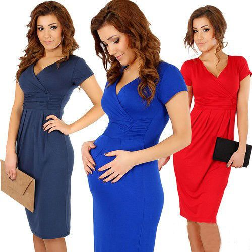 Elegant V-Neck Short Sleeve Bodycon Dress - 4 Colors
