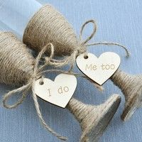Wish | Rustic Wedding Toasting Glasses with Twine, Rustic Champagne Flutes, Bride and Groom Glasses, wedding glasses Set engraved heart