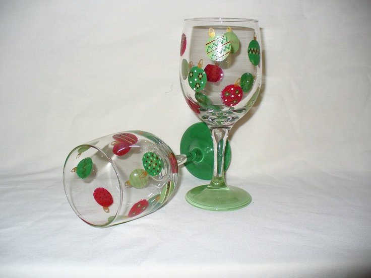 111 best wine glass ideas images on pinterest painting for Hand painted wine glass christmas designs