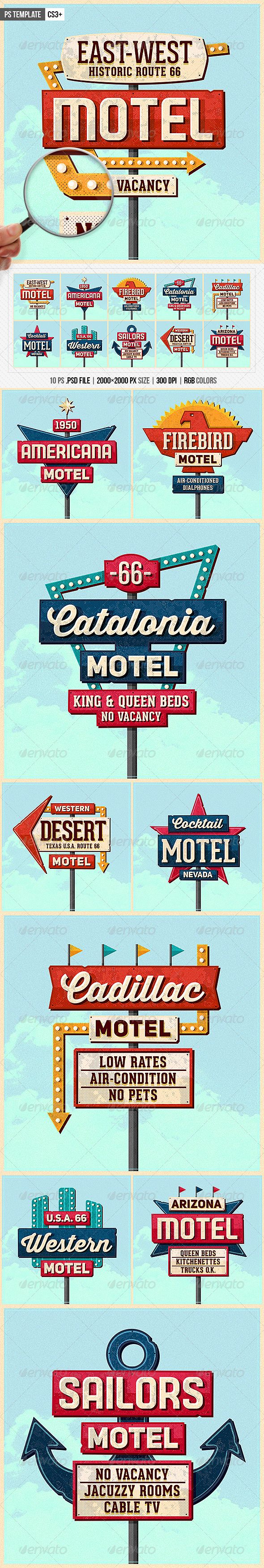 Vintage Motel Sign Pack Motel Sign Pack – Ps Template 	50s, 60s, adam aczkov, america, cactus, classic, customizable, desert, editable, grunge, highway, hotel, motel, motel sign, old, oldies, retro, retro sign, road, rock, route 66, sign, signage, signs, texture, unique, vacancy, vintage, vintage sign, worn  http://graphicriver.net/item/vintage-motel-sign-pack/8676739?ref=creativetouch