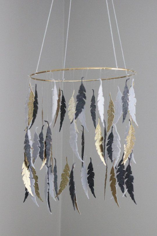 Can I make this for a mobile for myself to go to sleep?   A Grey & Gold leaf mobile— Apartment Therapy