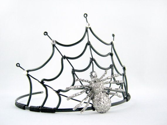 The Black Widow - Black Spiderweb Evil Halloween Queen Crown. $55.00, via Etsy.