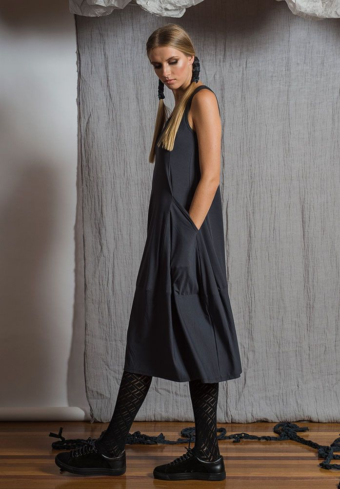 Prima dress sleeveless storm – Australian made bamboo jersey. All Rant Clothing garments are ethically made in Brisbane Australia.  Sustainable Fashion Sustainable Fashion