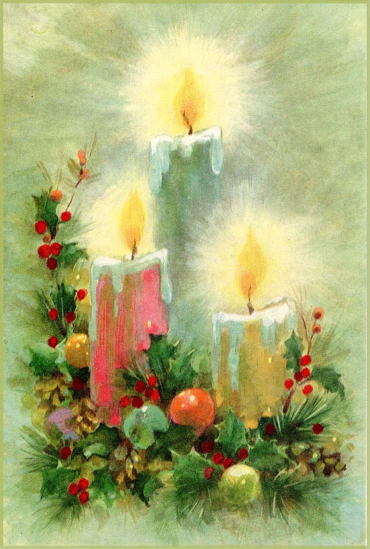 #Christmas #candles #midcentury (retro greeting card)
