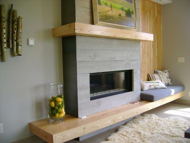 Modern Fireplace surround | Cameron Van Dyke. Kare es está pero con piedras y concreto. El asiento seria del lado izquierdo. Por que en el derecho pondría mi Árbol de Navidad. Que te parece?