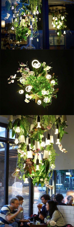 Natural green chandelier